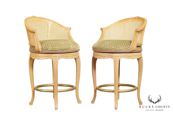 French Louis XV Style Pair Cane Back Swivel Counter Height Bar Stools