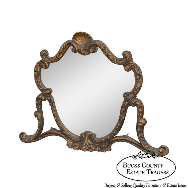 1920s Rococo Gilt Wood Carved Vanity Mirror