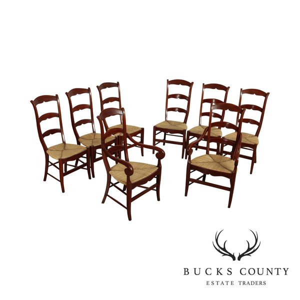 French Country Quality Set 8 Cherry Rush Seat, Ladder Back Dining Chairs 'AGR Paris'