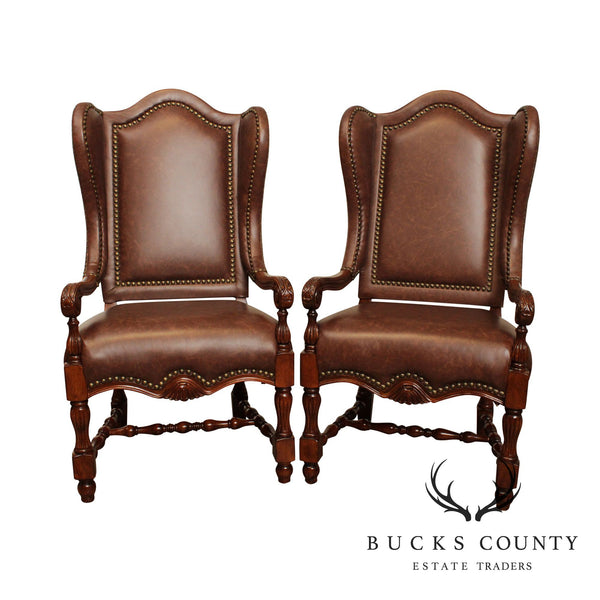 French Louis XIII Style Pair Brown Leather Wing Back Arm Chairs