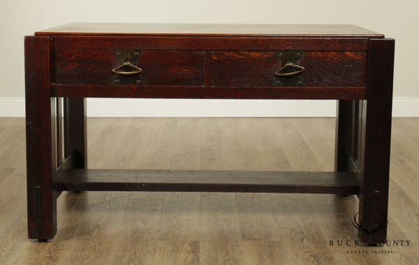 Antique Arts & Crafts Mission Oak Library Table