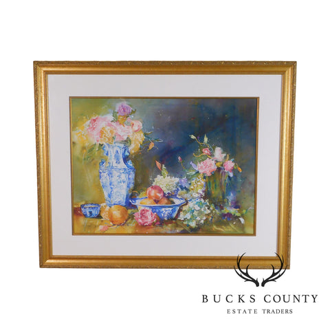 V. Weller Print 21/300 of Watercolor Fruit & Floral Still Life with Blue & White China