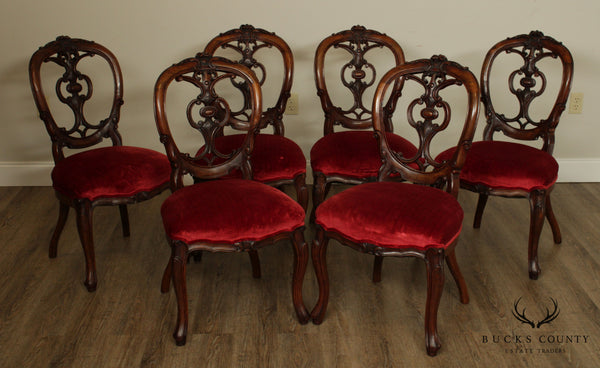 Antique Victorian Rococo Revival Set 6 Rosewood Side Dining Chairs