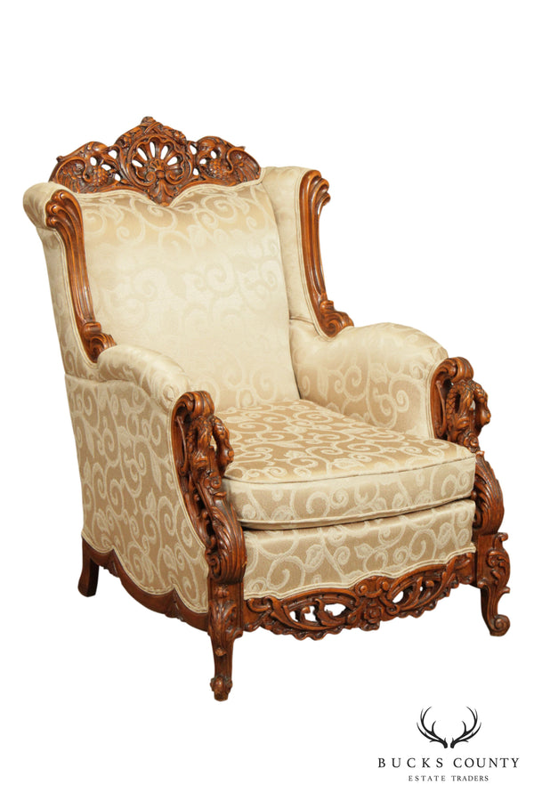 Antique Renaissance Revival Elaborately Carved Custom Upholstered Bergere Chair