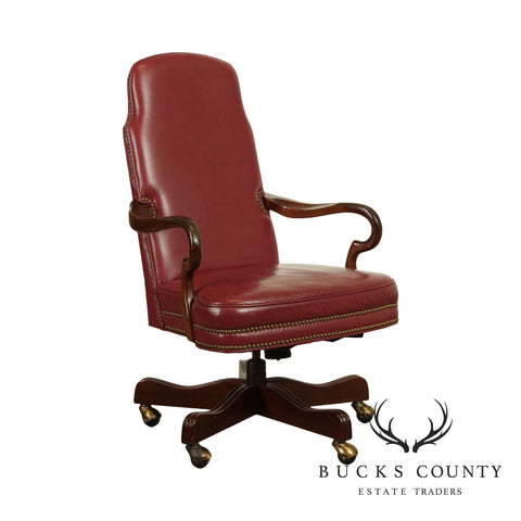 Ethan Allen Red Leather Executive Swivel Desk Chair