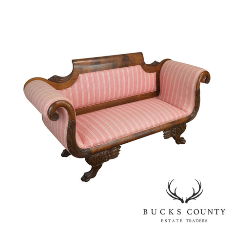 American Classical Empire Style Scroll Arm Mahogany Love Seat