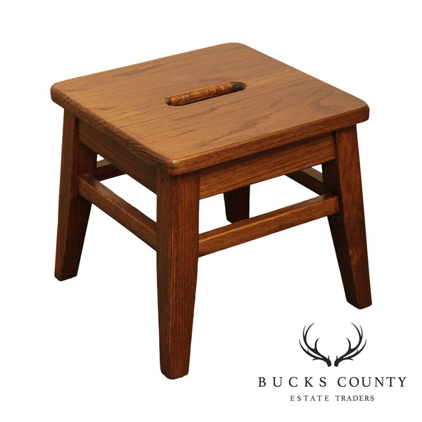 Custom Crafted Solid Oak Small Square Stool