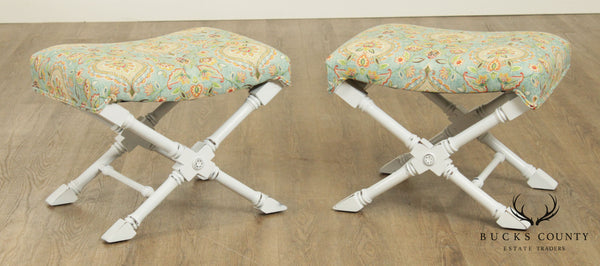Regency Style Custom X Base White Painted Pair Benches