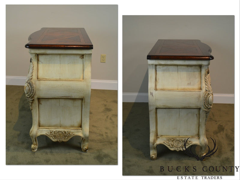 Henredon French Louis XV Style Distressed Painted Bombe Chest