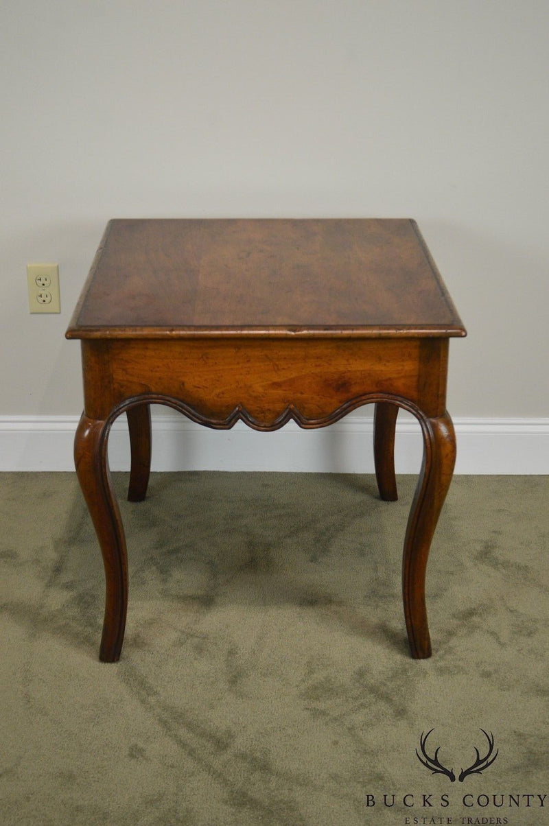 Baker Collectors Choice French Louis XV Style Vintage Walnut 1 Drawer Side Table