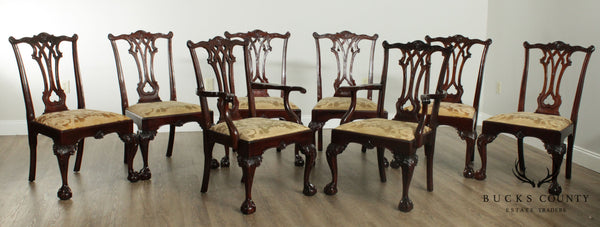 Stickley Mahogany Chippendale Style Ball & Claw Set 8 Dining Chairs