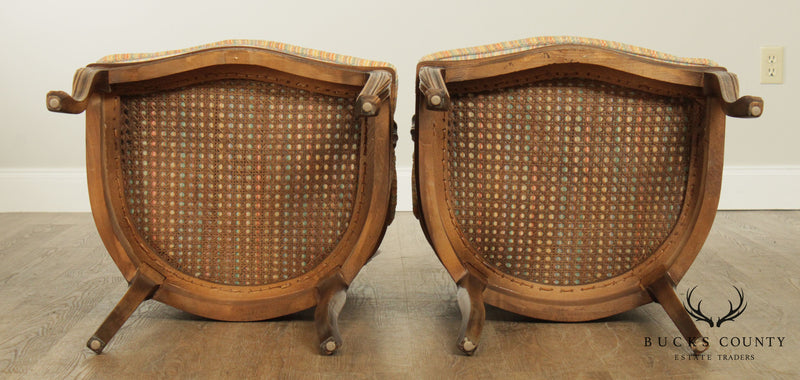 French Louis XVI Style Vintage Quality Pair Caned Armchairs