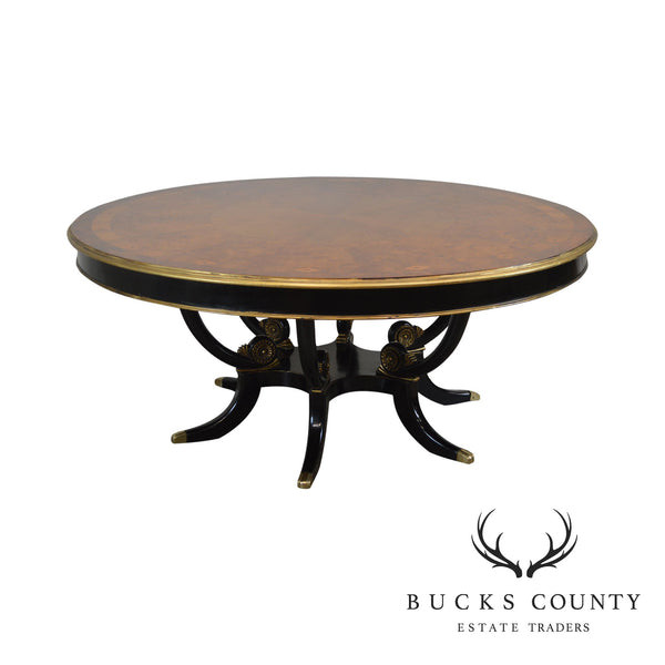 "Regency Style 71"" Round Burlwood Inlaid Top Dining Table W/ Black & Gold Base"