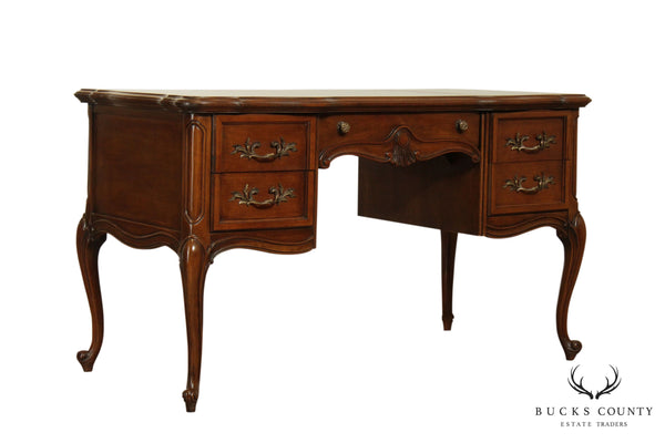 Alonzi Furniture Co. French Louis XV Vintage Leather Top Writing Desk
