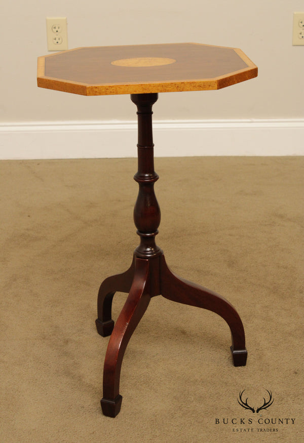 Statton Warfield Collection Mahogany Inlaid Hepplewhite Style Pedestal Side Table