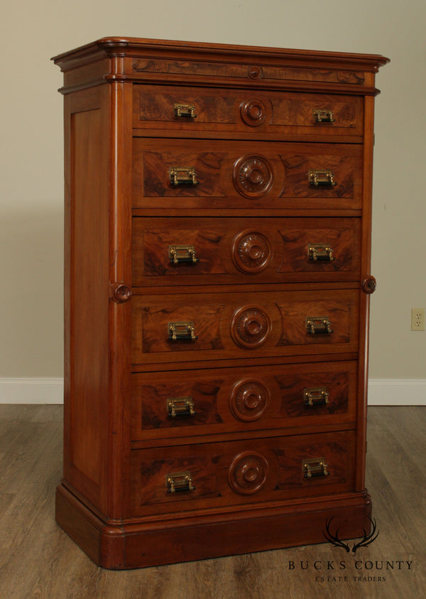 Antique Victorian Walnut 6 Drawer Lock Side High Chest