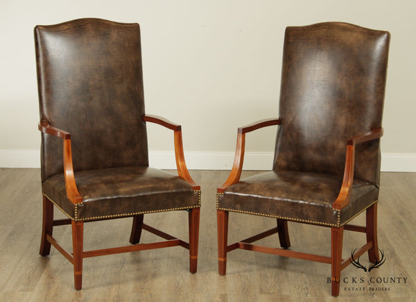 Hepplewhite Style Custom Mahogany Inlaid Brown Leather Pair Martin Washington Lolling Chairs