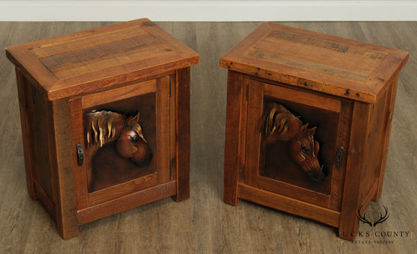 Woodland Creek Pair Rustic Barnwood Nightstands or End Tables, Copper Horse Head Panels