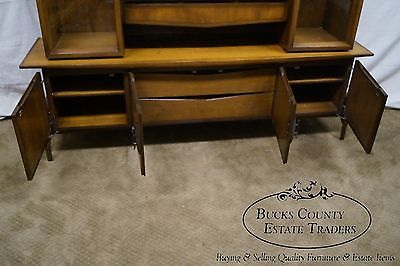 Hobey Helen Baker Walnut Credenza Sideboard w/ China Cabinet Top