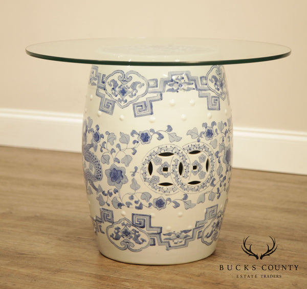 Blue & White Asian Ceramic Pottery Garden Seat Glass Top Side Table