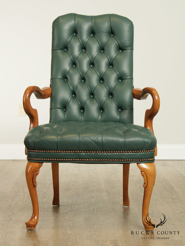Quality Green Tufted Leather Queen Anne Armchair