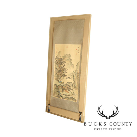 Chinese Scroll Landscape Painting Color on Silk Enclosed in Plexiglas Box Frame
