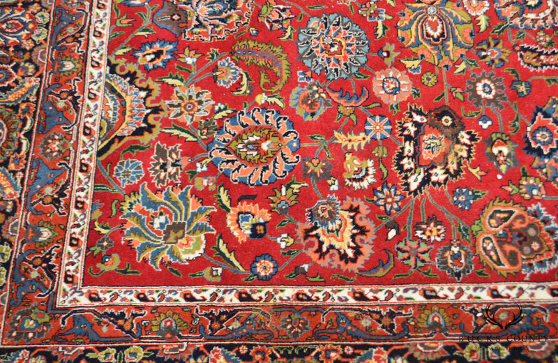 8' x 11' Hand Tied Red Multicolor Room Size Rug