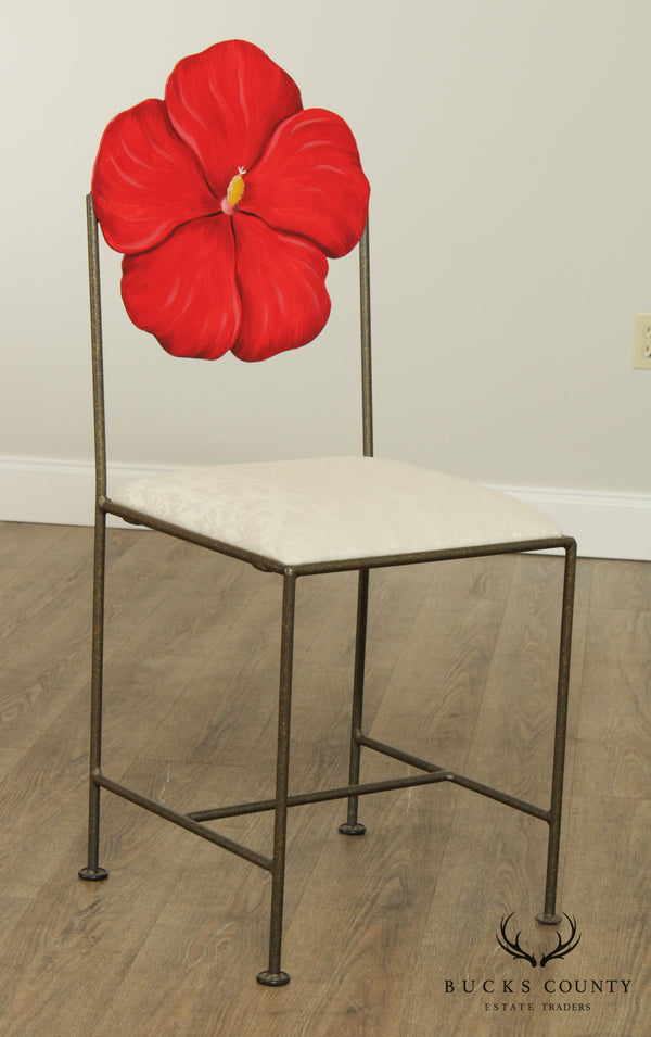 Wrought Iron Frame Hand Painted Red Flower Back Side Chair