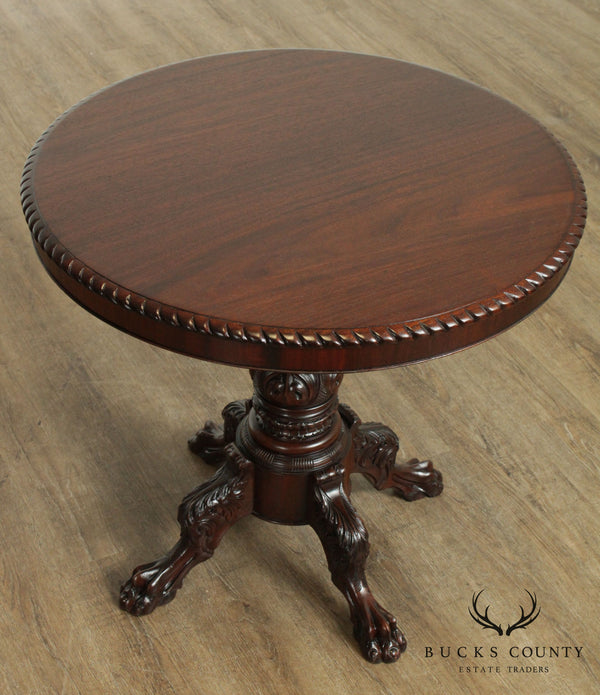 R. J. Horner & Co Labeled Antique Empire Style Carved Round Mahogany Table