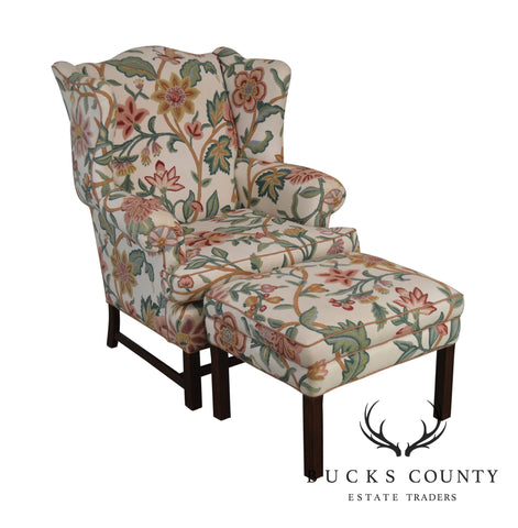 Chippendale Style Custom Crewel Work Wing Chair with Ottoman