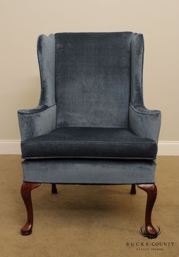 Hickory Chair Mahogany Custom Upholstered Queen Anne Wing Chair