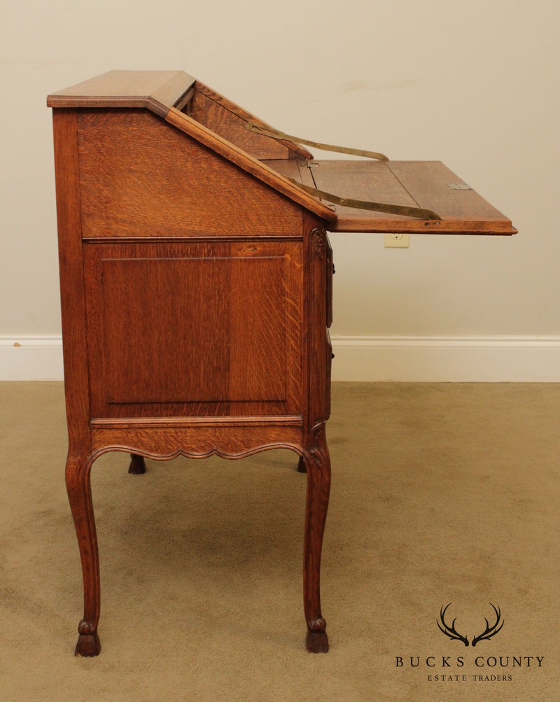 Antique French Louis XV Style Carved Oak Slant Front Writing Desk