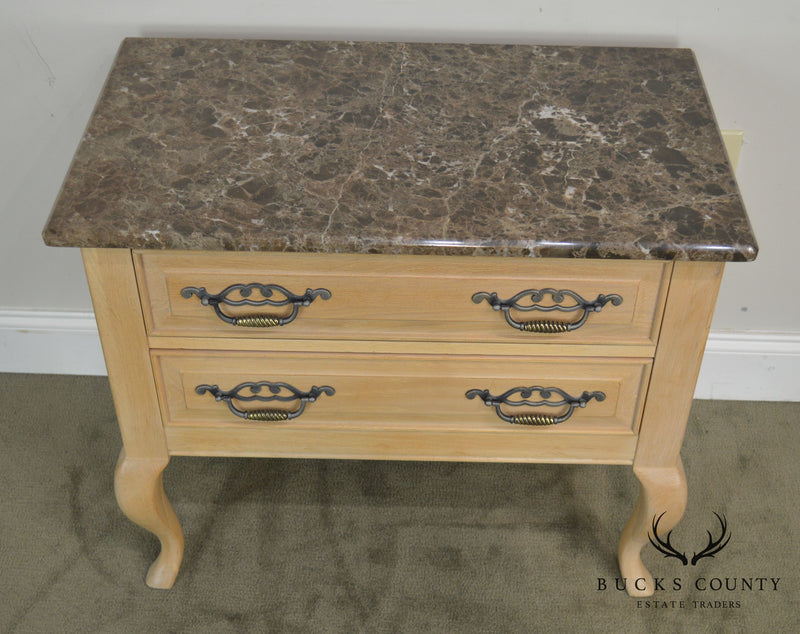 Thomasville French Country Style Pair Oak Marble Top Night Stands