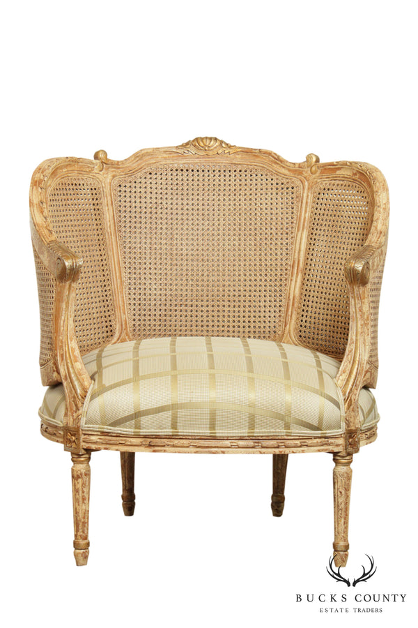 French Louis XVI Style Double Cane Back Wide Bergere Chair