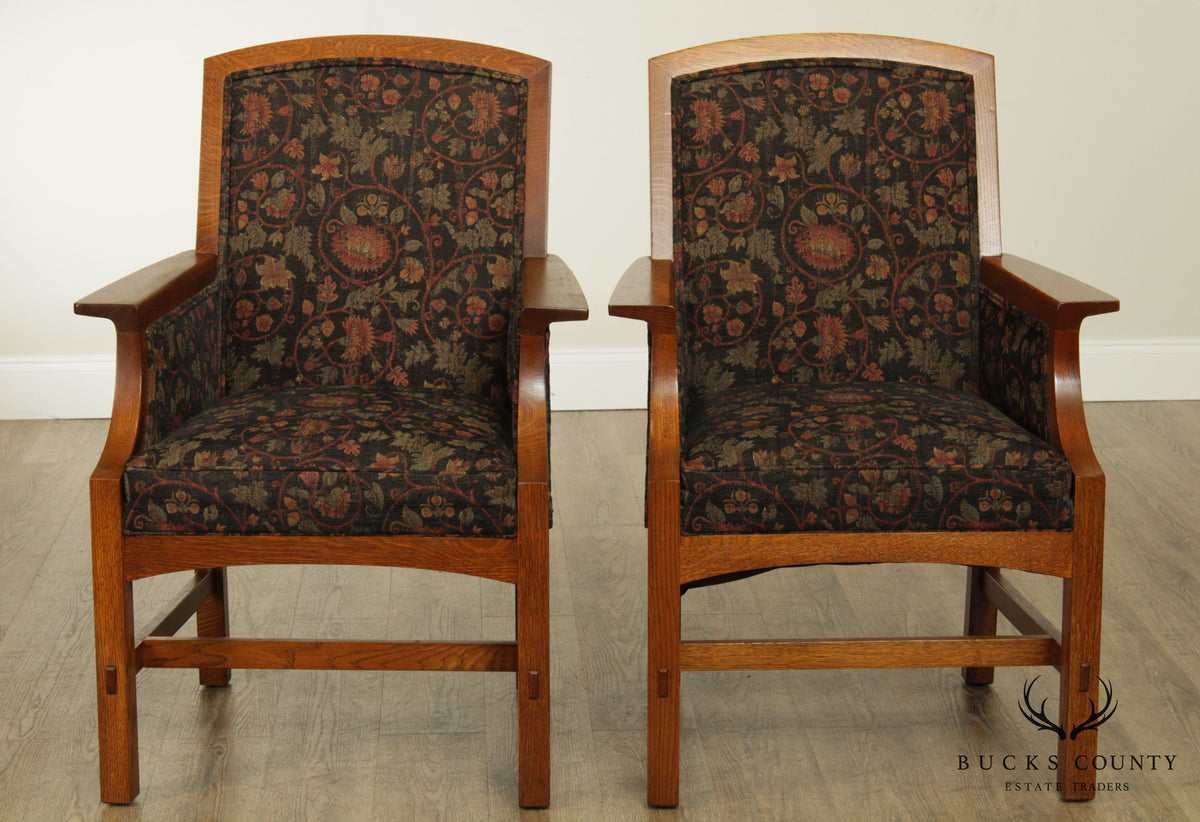 Stickley Mission Collection Pair Armchairs Bucks County