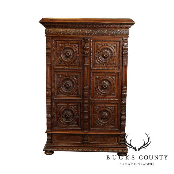 French Renaissance Exceptional Carved Walnut Armoire Cabinet
