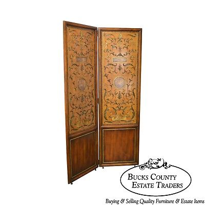 Maitland Smith Large 2 Panel Hand Painted Folding Dressing Screen