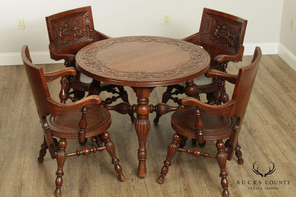 Antique Victorian Oak German Renaissance Round Games Table With 4 Carved Monks PUB Chairs Set