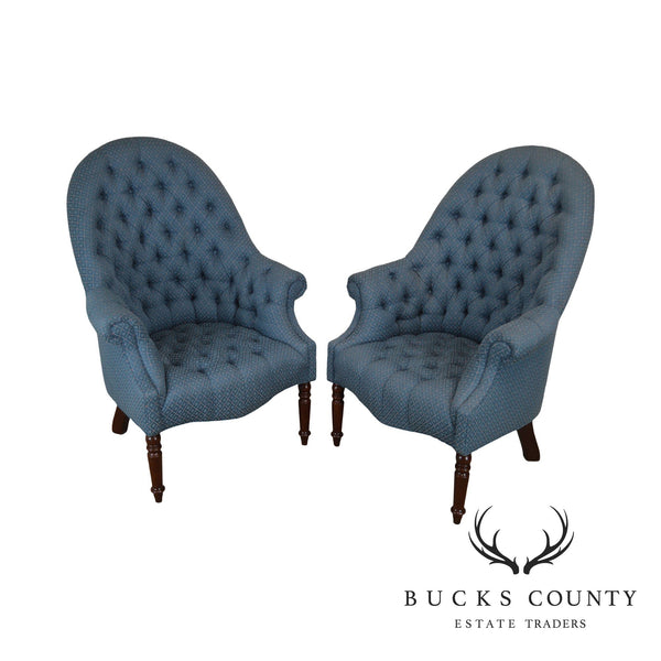 Hancock & Moore English Regency Style Custom Upholstered Pair Tufted Library Wing Chairs