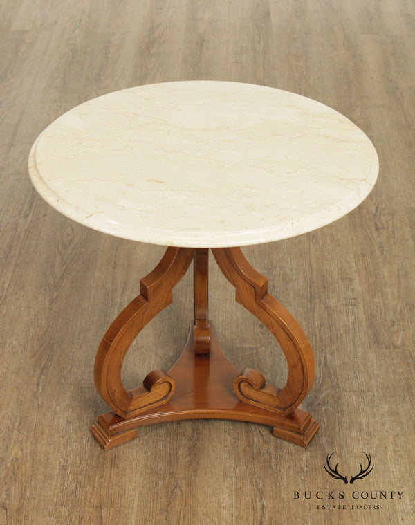 Vintage Round Marble Top Italian Pedestal Side Table