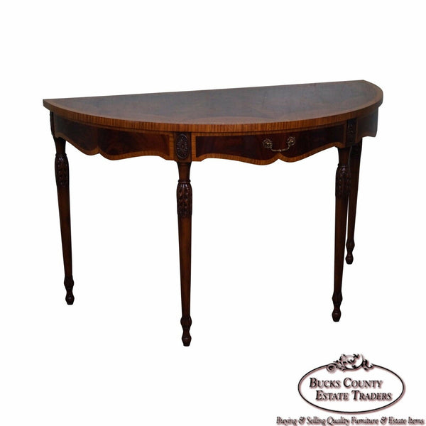 Maitland Smith Flame Mahogany Demilune Console Table