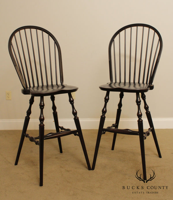 Custom Quality Pair Black Painted Windsor Chairs, Bar Stools