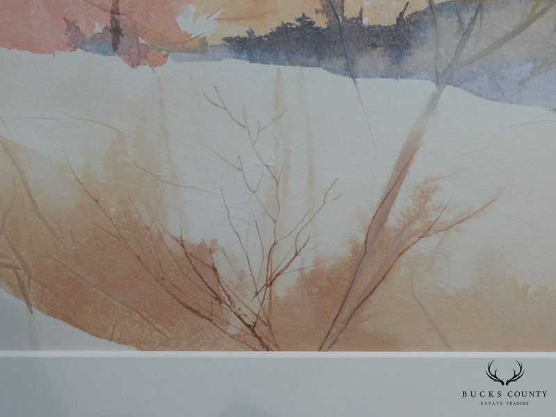 Patricia Ganeck Large Watercola Painting of Autumn Landscape