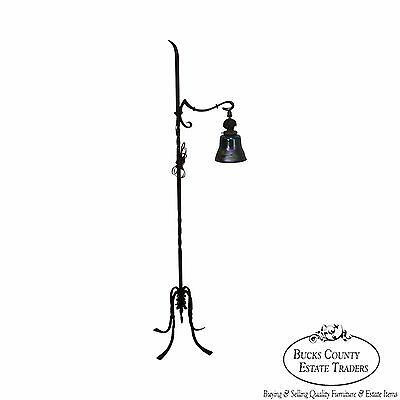 Antique Arts & Crafts Hand Forged Iron Floor Lamp w/Art Glass Shade