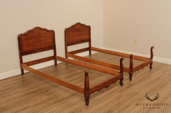 Kindel French Louis XV Style 'Chateau' Cherry Pair Twin Beds
