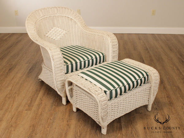 Palecek Victorian Style White Wicker Chair with Ottoman