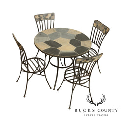 Hand Crafted Forged Iron & Stone Round 5 Piece Table + 4 Chairs Dining Set