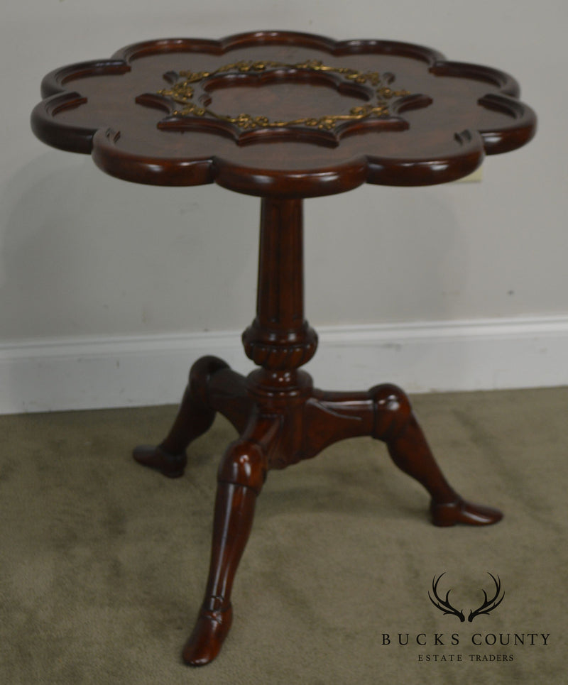 Maitland Smith Regency Style Mahogany Scalloped Top Pedestal Side Table