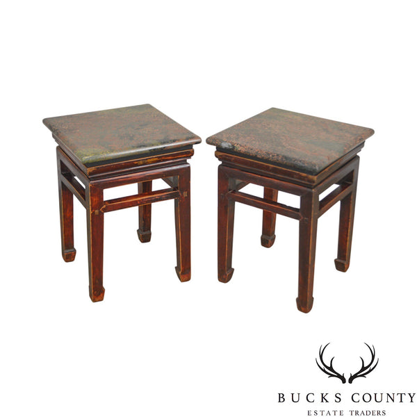 Asian Antique Pair of Chinese Hardwood Low Stands w/ Marble Granite Tops