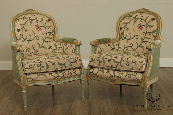 French Louis XVI Style Antique Painted Pair Bergeres, Custom Cremework Upholstery